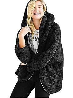 d5e670b1b45e Choies Women s Reversible Faux Fur Winter Hooded Cardigan Coat Black  Beige Burgundy