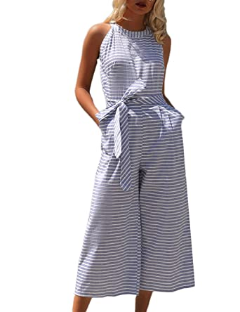 f1375bae801 Amazon.com  Ninimour Women Striped Waist Belted Wide Leg Jumpsuit  Clothing