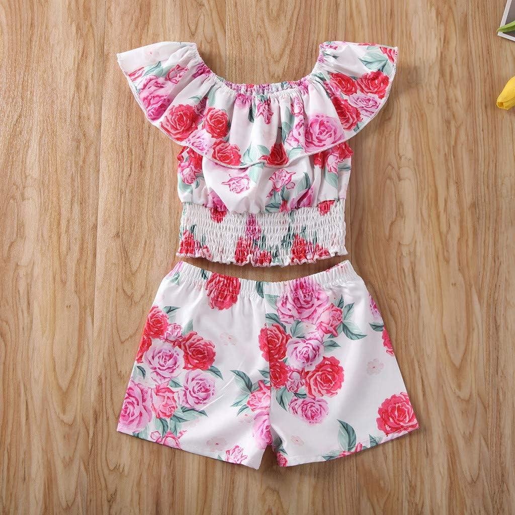 Baby M/ädchen /ärmellose Floral Drucken Revers Tops Umhang Sommerkleidung 1-6 Jahre Blume Shorts T-Shirt Hosen Cwemimifa Baby M/ädchen Kleidung