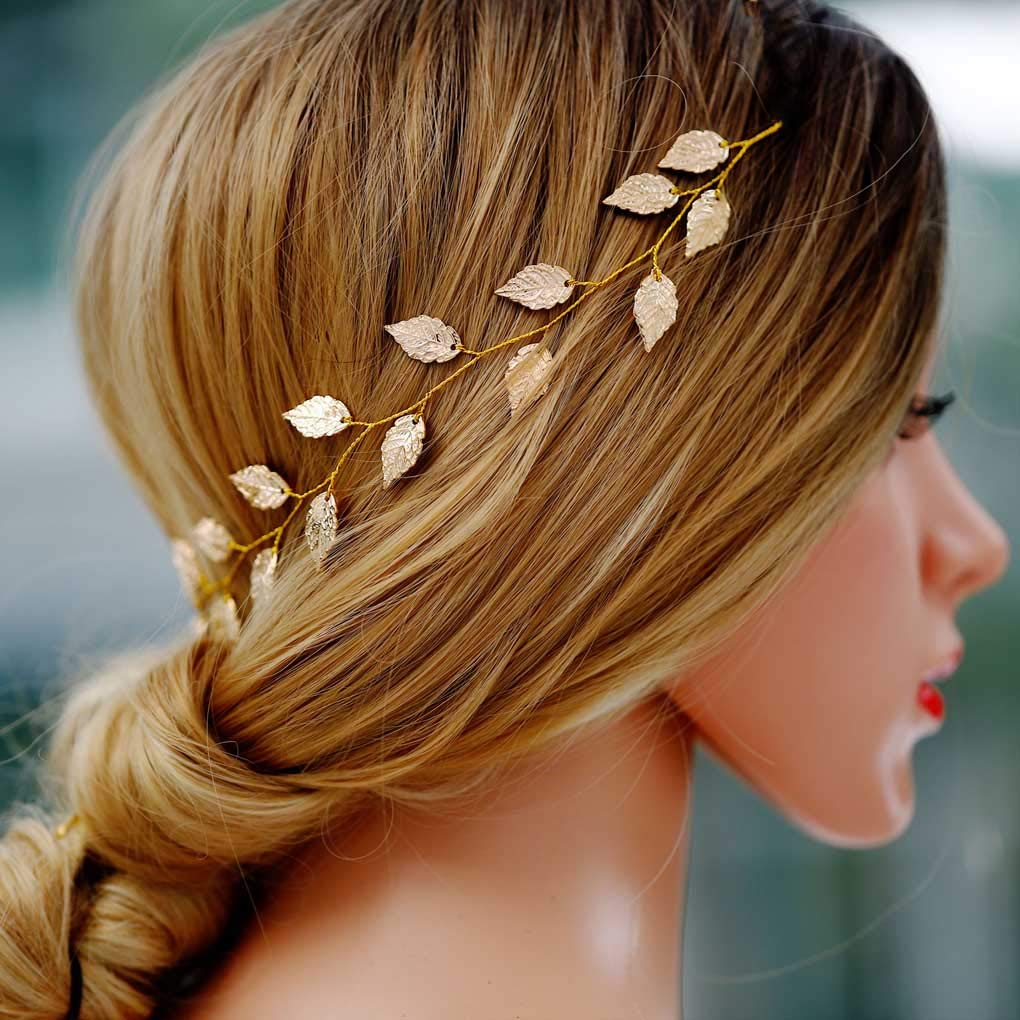 Yean Wedding Headband Gold Leaf Bridal Headpieces for Bridesmaid and Flowergirls (15.7 Inches) (Gold) by Yean