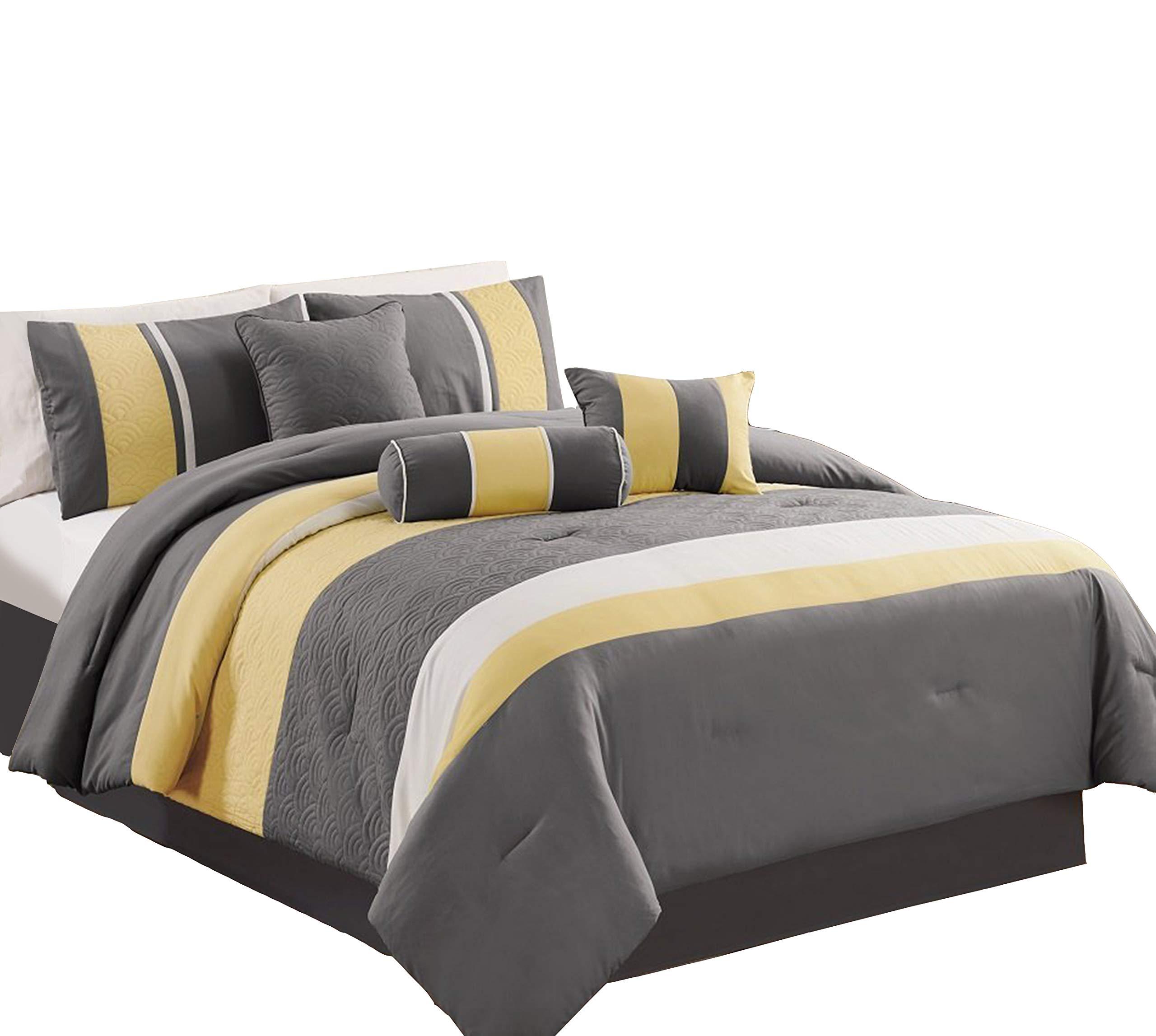"Chezmoi Collection 7-Piece Sunvale Yellow Grey White Comforter Bedding Set (Queen) - 1 Comforter 90""x92"", 2 Shams 20""x26"" 1 Bed Skirt 60""x80""+14"" , 1 Cushions 18""x18"" 1 Neckroll 8""x18"", 1 Breakfast Pillow 12""x18"" - comforter-sets, bedroom-sheets-comforters, bedroom - 711rQ1WOhQL -"