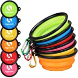 AGECASH A Collapsible Dog Bowl for Travel, 6 Pack Portable Silicone Pet Bowl, Expandable for Cat Dog Water Bowl Dish Feeding,