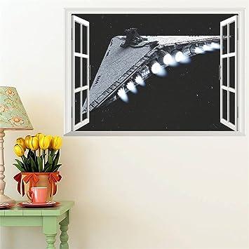 WVXkreatives Design, 3d   Fenster   Raumschiff Wohnzimmer Tapezieren 70cm  50 *