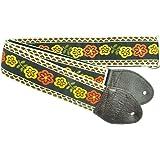 Souldier Custom GS0274BK04DB Handmade Marigold Guitar Strap, Black/Brown/Orange