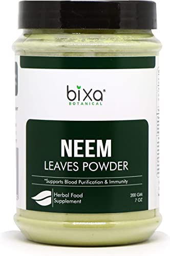 Neem Leaf Powder Azadirachta Indica Herbal Blood Purifier Anti-Septic Herbal Supplement for Blood Skin, Reduces Blood Sugar Level Anti Allergic Herbal Supplement 200g 7 Oz
