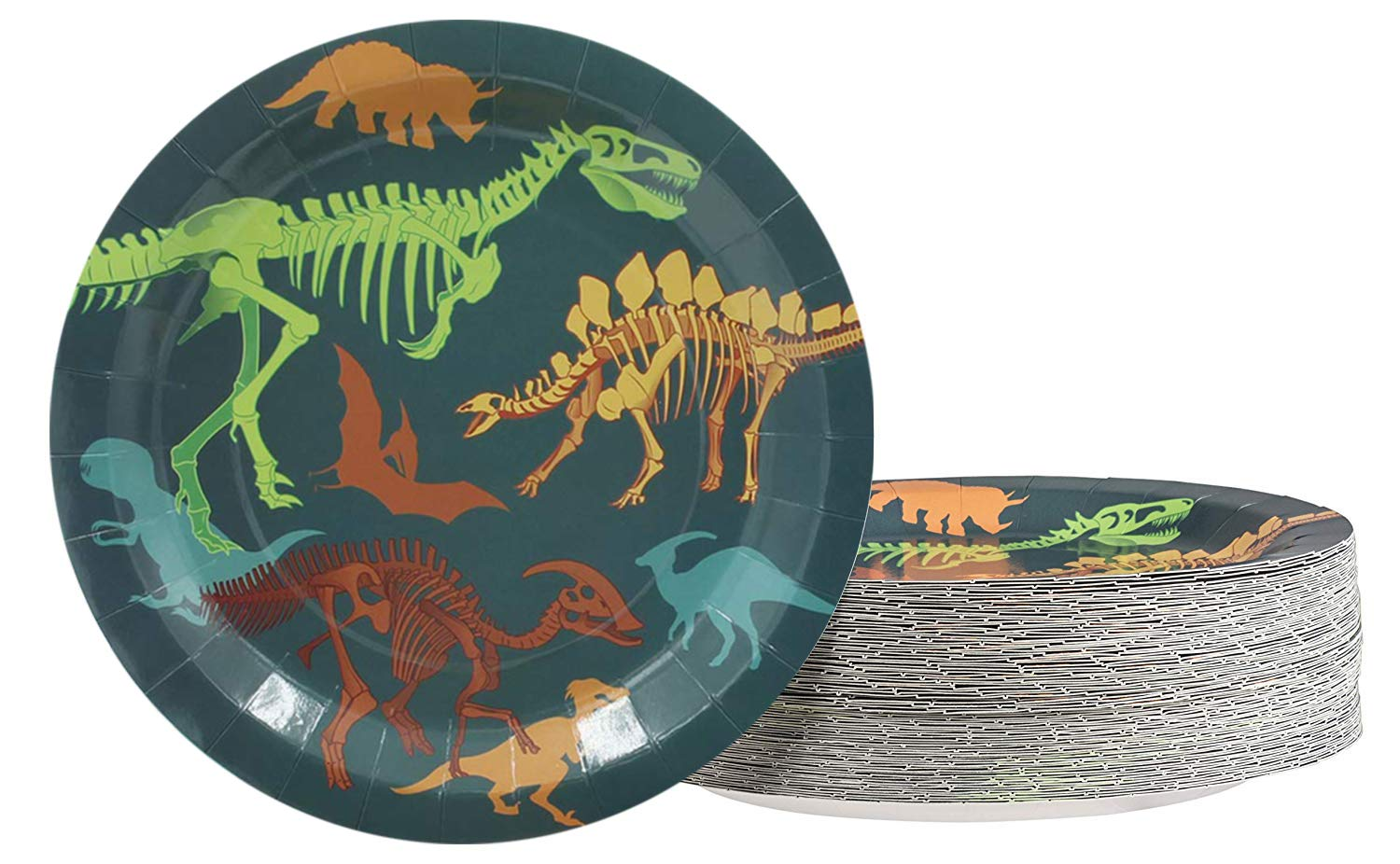 Dinosaur Plates - 80-Pack Dino Plates with Fossil Skeleton Print, Dinosaur Themed Kids Birthday Party Supplies, 9-Inch Round Cake Plates, Lunch, Dessert by Juvale