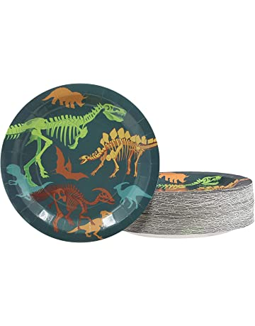 c72a0ff0e Disposable Plates - 80-Count Paper Plates, Dinosaur Themed Birthday Party,  Game Night