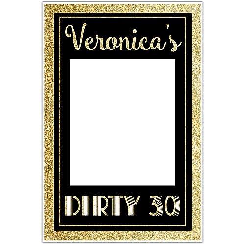 Amazon.com: Dirty Thirty Birthday Selfie Frame Gold Glitter Social ...
