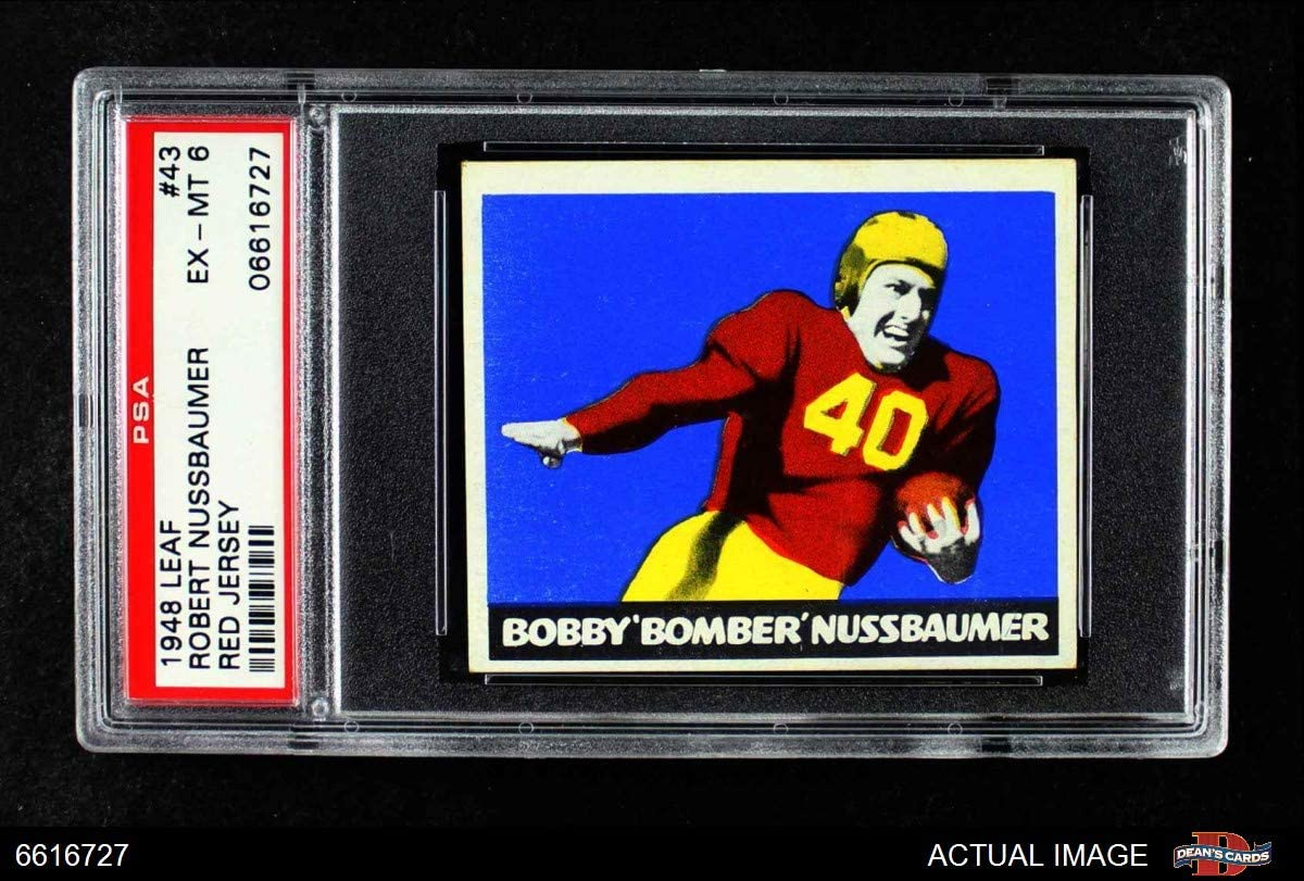 1948 Leaf # 43 rot Robert Nussbaumer Washington Redskins (Football Card) (rot Jersey) Psa 6 - Ex/Mt Redskins