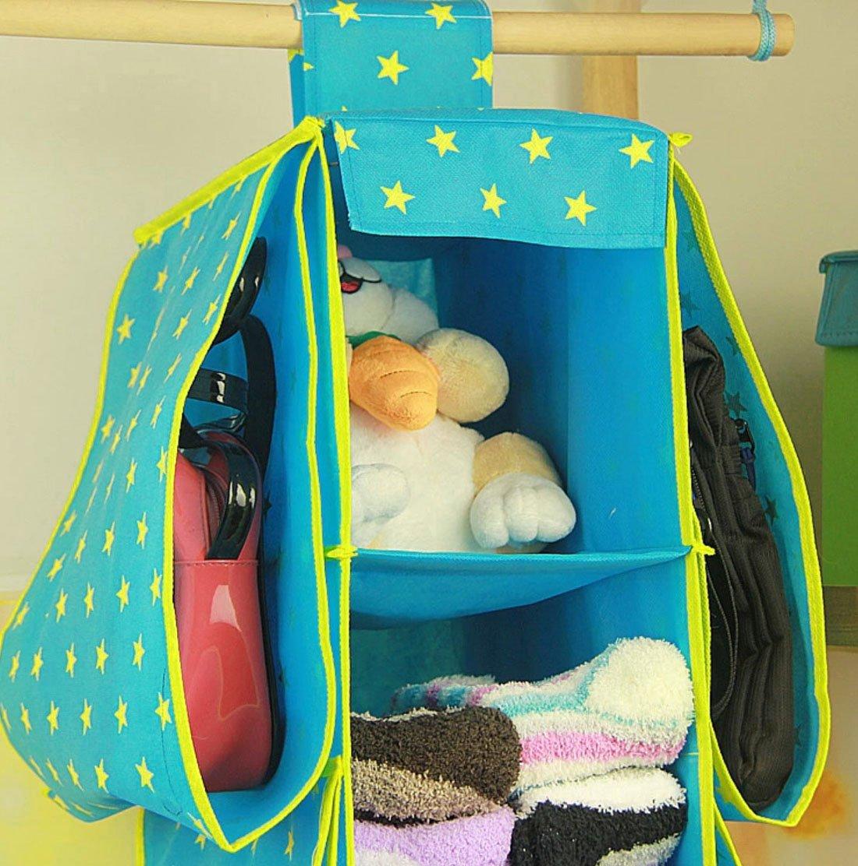 BXT Multifucional Bolsa de almacenamiento con 4 estantes y 6 bolsas colgantes para organizar ropas y artículos de uso diario en la casa,Azul: Amazon.es: ...