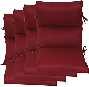 """Set of 4 Outdoor Chair Cushion 22"""" W x 44"""" L x 4.5"""" H. Polyester Red Fabric by Comfort Classics Inc."""