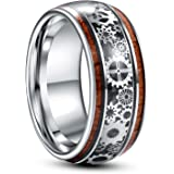 TUNGSTORY 10mm Steampunk Gear Wheel Tungsten Ring for Men Women Koa Wood Inlay Domed Polished Comfort Fit Size 7-14