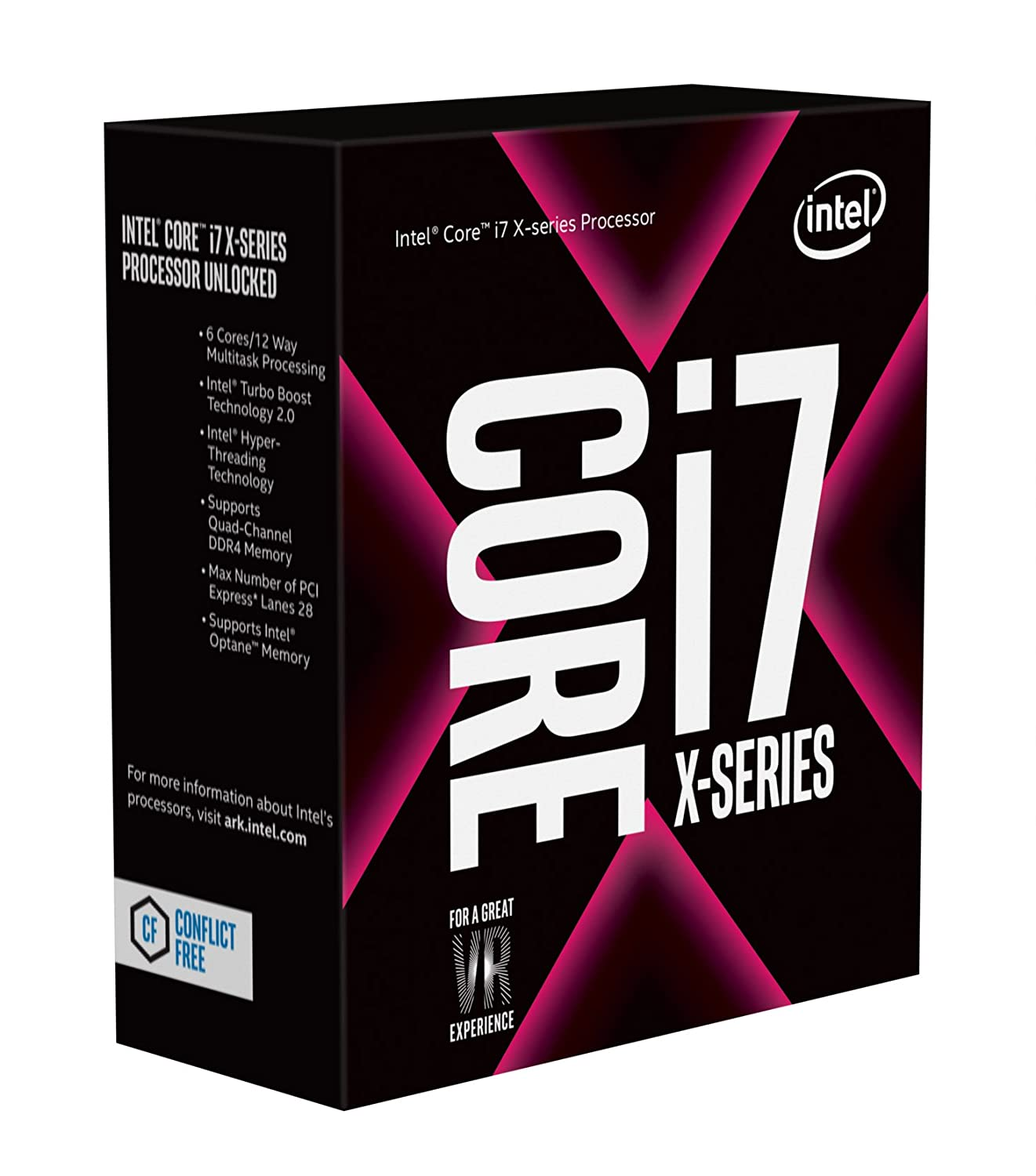 Intel Core i7-7800X X-Series Processor 6 Cores up to 4.0 GHz Turbo Unlocked LGA2066 X299 Series 140W