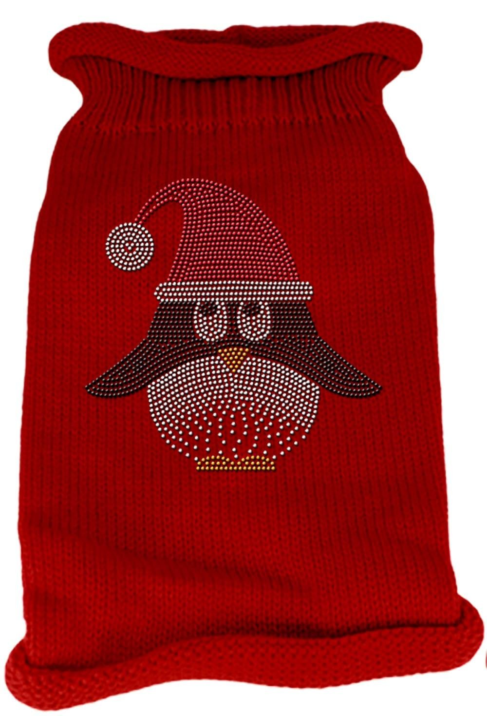 Mirage Pet Products Santa Penguin Rhinestone Knit Pet Sweater, Small, Red