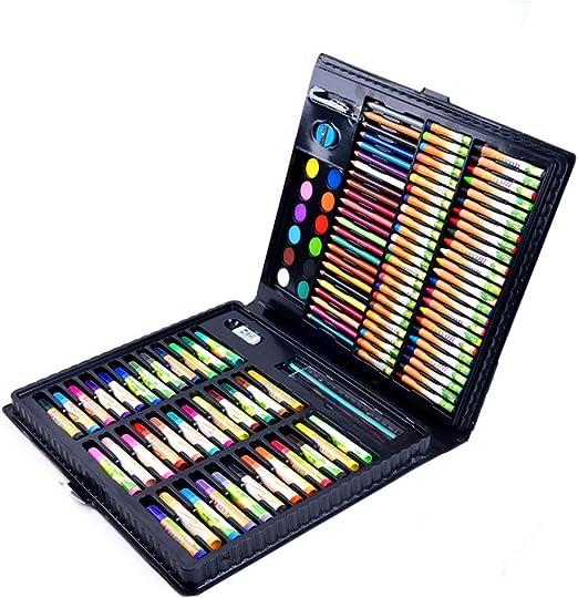 Kanqingqing Caja Colores Niños Juego de Arte de 160 Piezas de Medios Mixtos, Estuche de Madera, Pintura al óleo Suave, Pintura de acrílico y Acuarela, boceto, carboncillo y lápices de Colores, Regla: