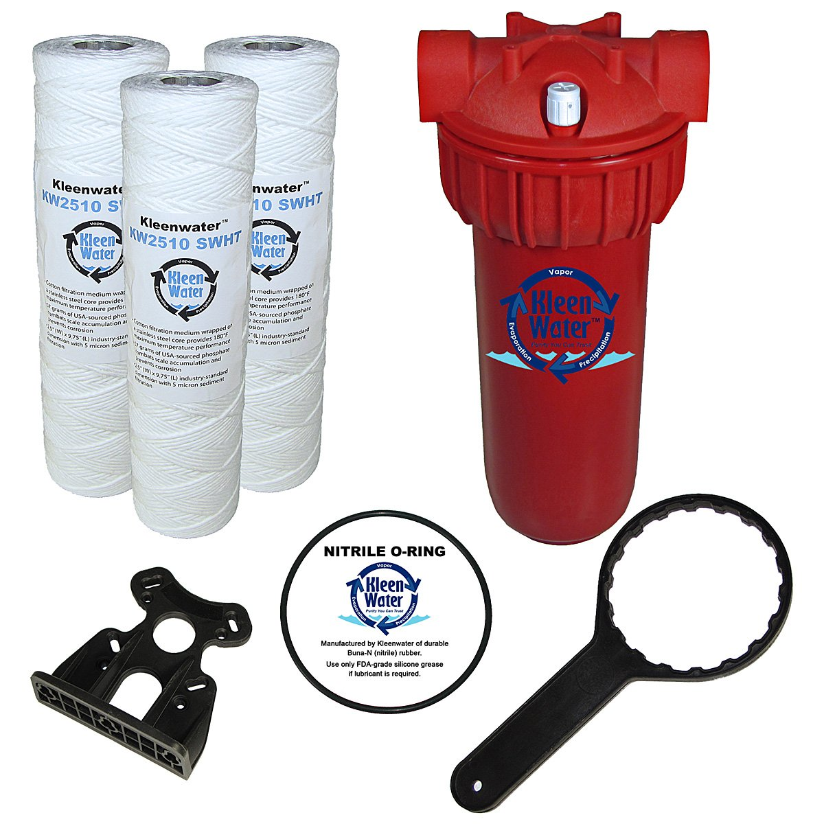 Hot Water Filter System, KleenWater Premier KWHW2510 High Temperature Filtration System with Scale Inhibitor Cartridges, 1 Inch Inlet Outlet