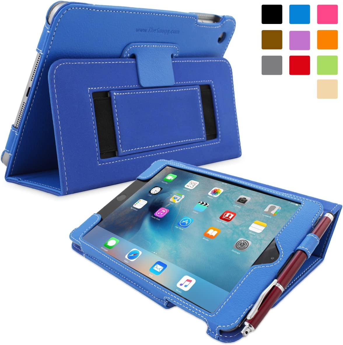 Snugg iPad Mini 5 (2019) & iPad Mini 4 (2015) Leather Case, Flip Stand Cover - Electric Blue