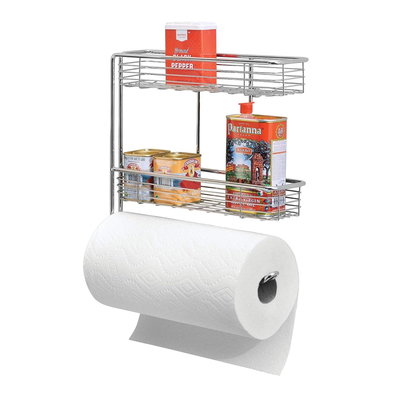 mDesign Portarrollos de cocina - Excelente dispensador de papel en metal con estantes para especias integrados - Práctico soporte de pared para rollo de ...