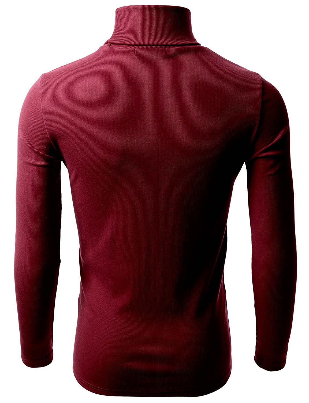 Doublju Mens Basic Long Sleeve Cotton Knit Turtleneck Sweater at ...