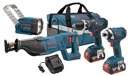 Amazon.com: Bosch clpk432 – 181 18-volt iones de 4-Tool ...