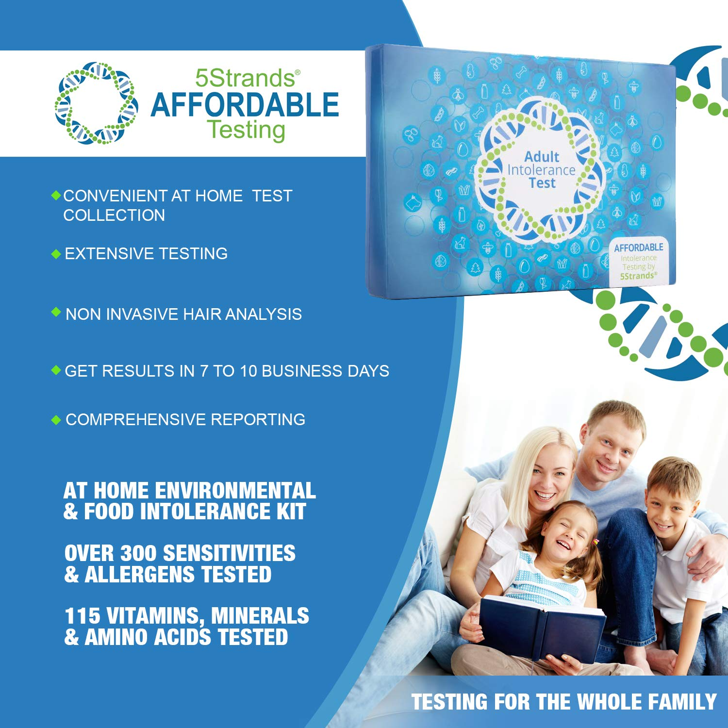 5Strands | Affordable Allergy & Intolerance Adult Test | at Home Environmental & Food Intolerance Kit | Tests for Over 350 Sensitivities & Allergens | Hair Analysis | Results in 1-2 Weeks | 1 Pack by 5Strands (Image #1)
