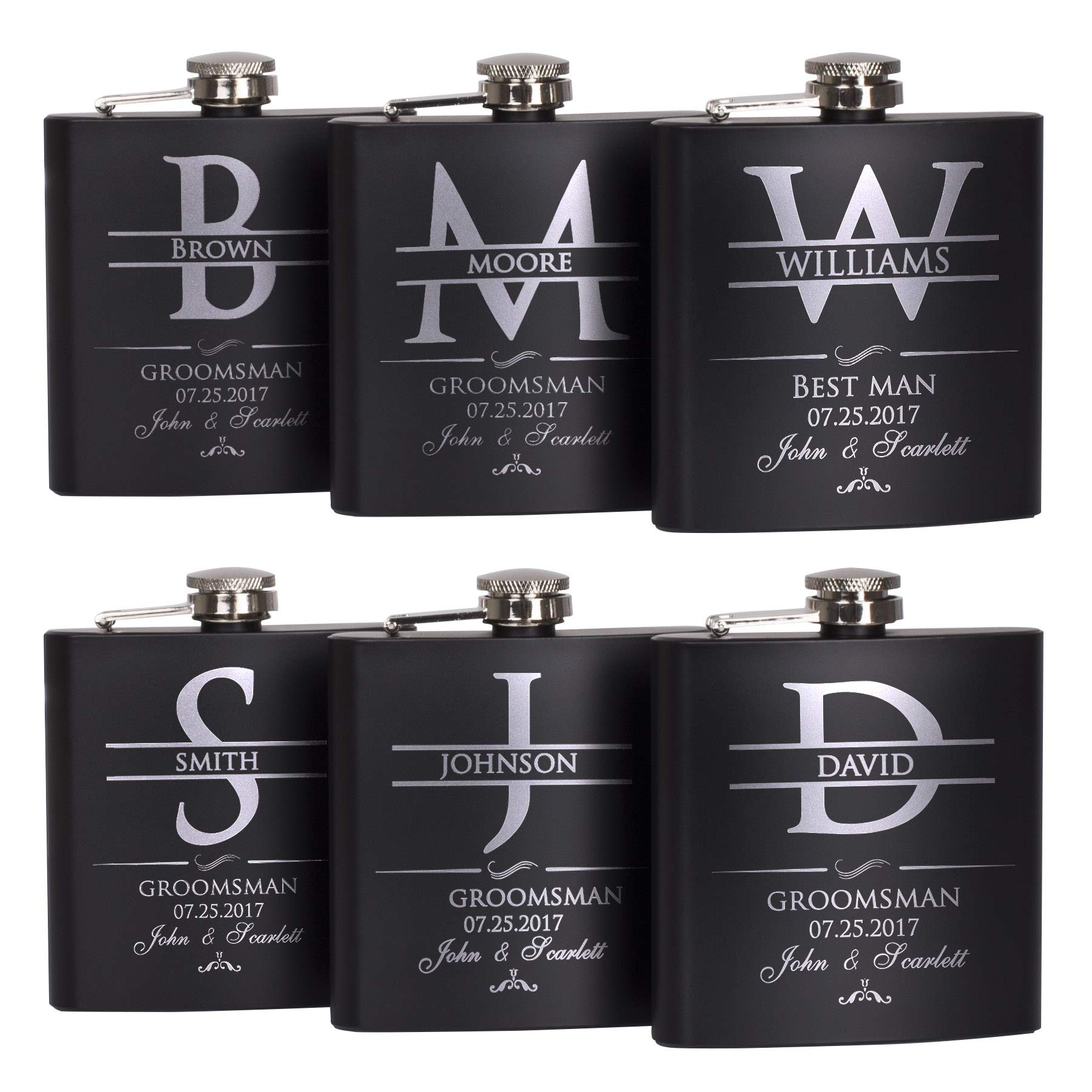 P Lab Set Of 6 - Groomsmen Gift - Groomsman Gifts For Wedding, Wedding Favor Customized Flask Set w Optional Gift Box - Engraved 6oz Stainless Steel Flask Custom Personalized Flask Gift Set, Black #2 by Personalization Lab