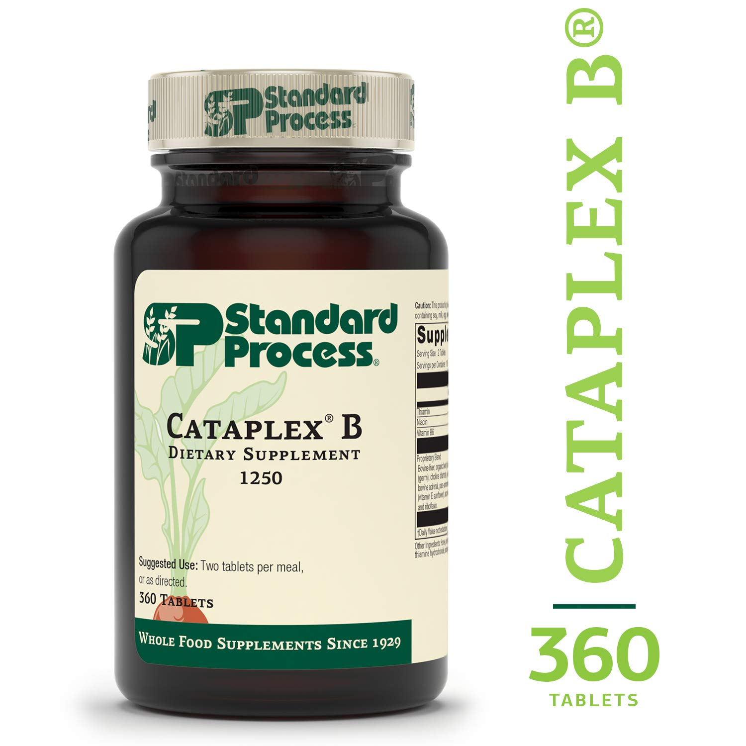 Standard Process - Cataplex B - 20 mg Niacin, Thiamin, Vitamin B6, B-Vitamin Supplement, Supports Metabolic, Cardiovascular, Healthy Cholesterol Levels, and Nervous System - 360 Tablets