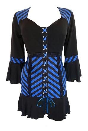 29ebd31715f2e Dare to Wear Victorian Gothic Boho Women s Cabaret Corset Top Blue Vertigo S