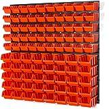 Lot de 94 elements d'étag?re murale 90 x bacs a bec orange
