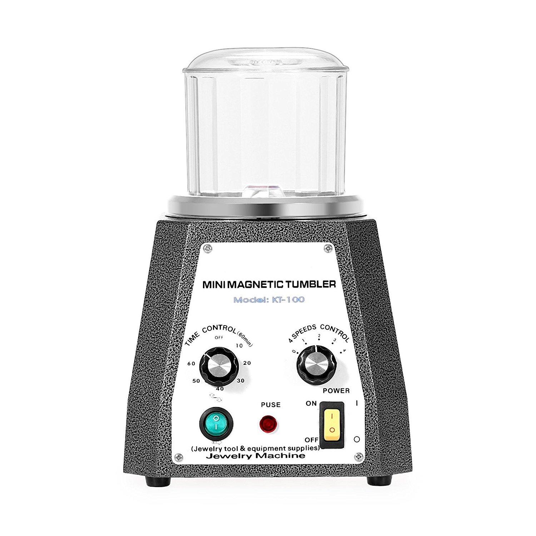 Magnetic Tumbler Jewelry Polisher 220V Machine de polissage et de polissage magn/étique 4 vitesses de contr/ôle Bijoux Polisseur Tumbler 3.93 pouces pour platine Or Argent Acier inoxydable