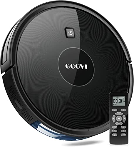 GOOVI Robot Vacuum, Robotic Vacuum Cleaner Slim Strong Suction, Quiet Multiple Cleaning Modes, Self-Charging Vacuum, for Pet Hair, Hard Floor, Medium-Pile Carpets