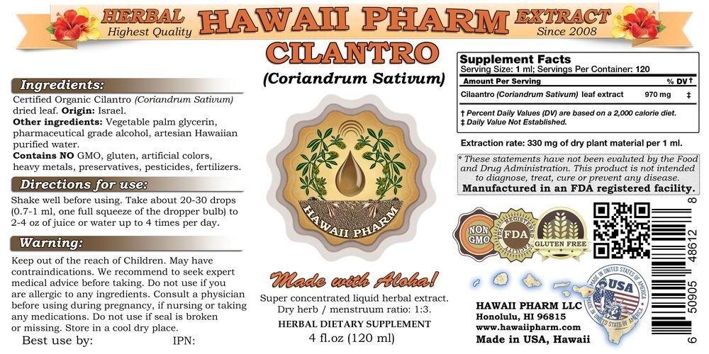 Cilantro Liquid Extract, Organic Cilantro (Coriandrum Sativum) Tincture Supplement 32 oz Unfiltered by HawaiiPharm (Image #2)
