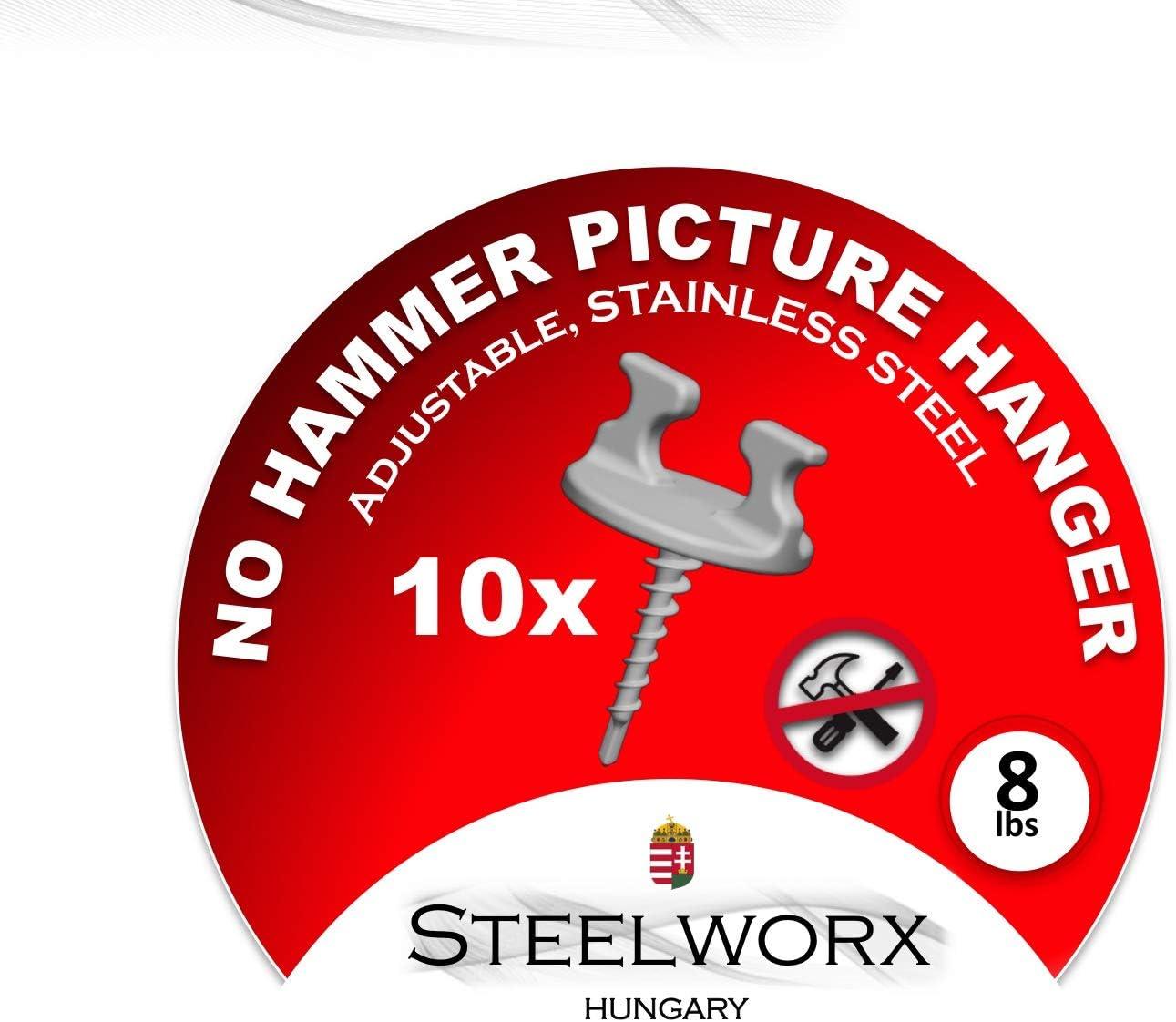 Ganchos ajustables para colgar cuadros acero inoxidable, 10 unidades STEELWORX