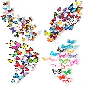 80 x PCS 3D Colorful Butterfly Wall Stickers Decal DIY Art Decor Crafts for Nursery Room Classroom Offices Kids Girl Boy Baby Room Bedroom Bathroom Living Room Sticker Set