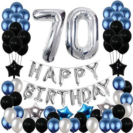 Decoración De 70 Cumpleaños Globos De 70 Cumpleaños Suministros De Fiesta Pancarta De Feliz Cumpleaños Azul Y Plateado Negro Para Mujeres Y Hombres 81pcs Toys Games
