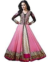 S,B Creation Women's Net Anarkali Suit (Pink_Free Size)
