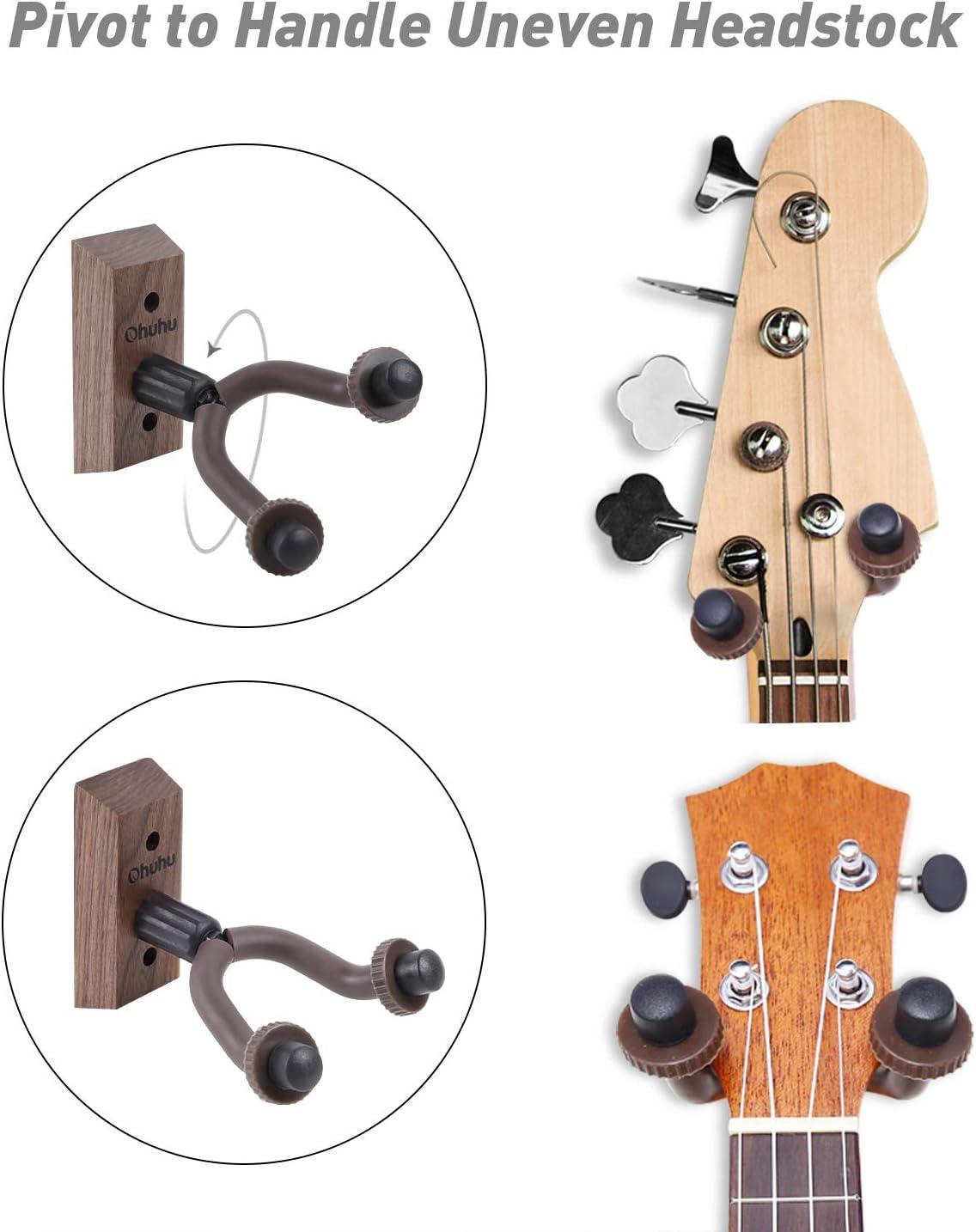 Ohuhu Guitar Hanger Wall Hook Holder Stand for Bass Electric Acoustic Guitar Ukulele Guitar Wall Mount Hanger Walnut 2-Pack