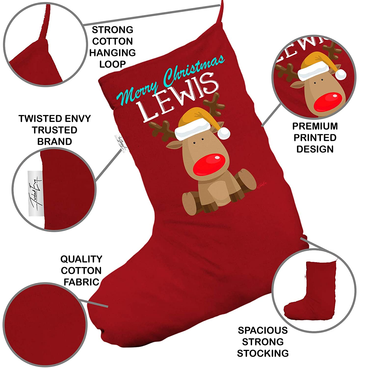 TWISTED ENVY Personalised Xmas Nose Reindeer Large Red Christmas Stocking With White Trim