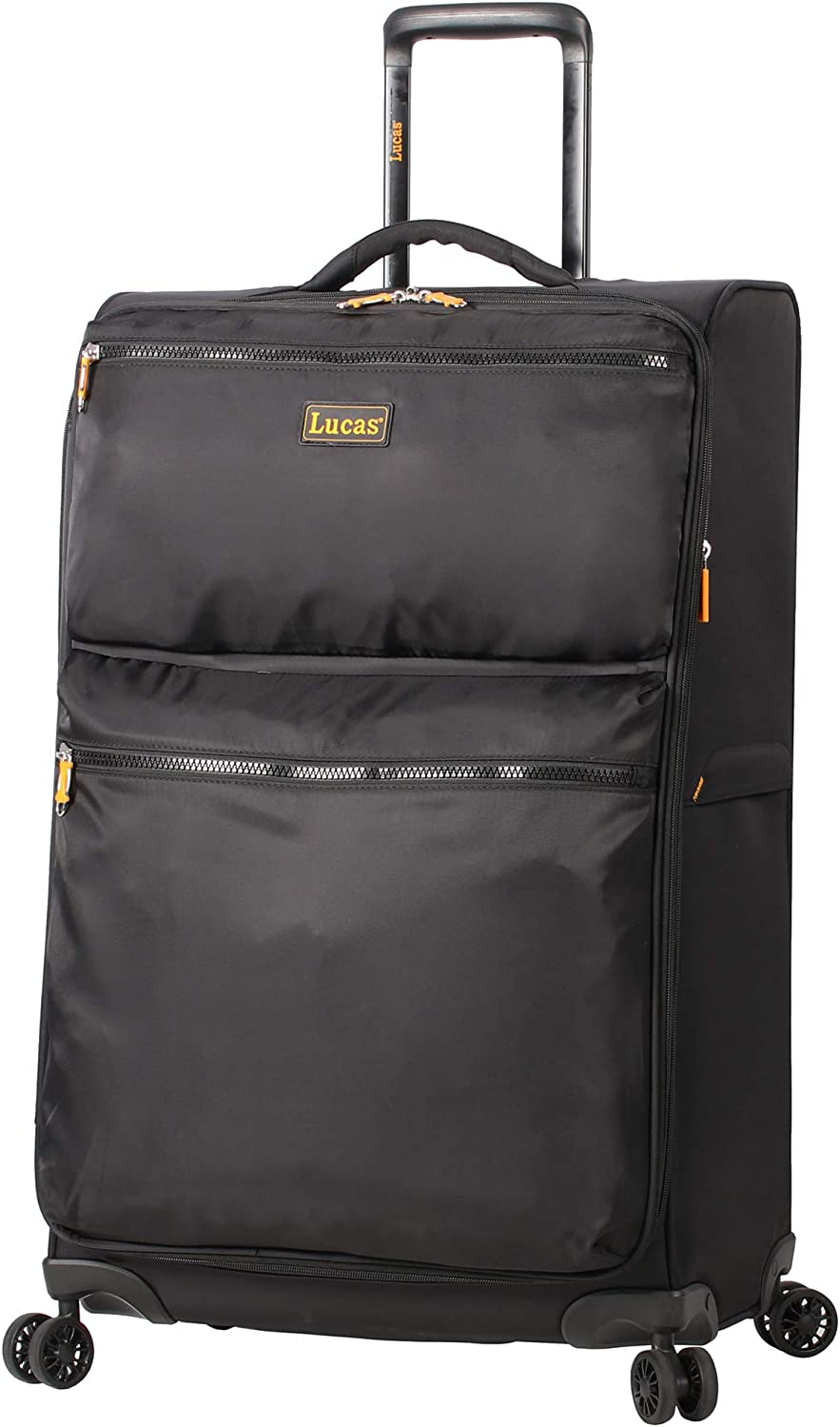 Lucas Designer Luggage Collection – Expandable 24 Inch Softside Bag – Durable Mid-sized Ultra Lightweight Checked Suitcase with 8-Rolling Spinner Wheels Black