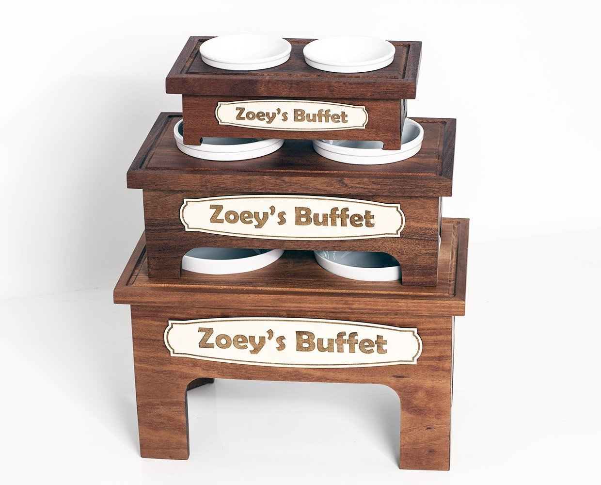 Personalized Solid Mahogany Wood Elevated Double Bowl Pet Stand - Handmade