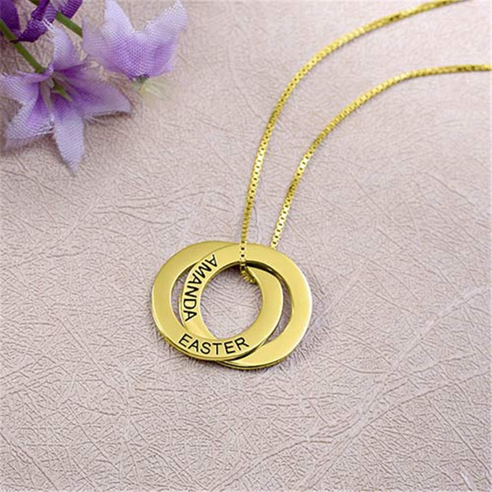Russian Ring Necklace with 2 Disc Interlocking Circles Necklace in Sterling Silver Necklace with Name Personalized Jewelry for Moms