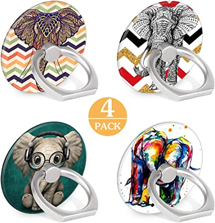 4-Pack Phone Ring Holder 360 Rotation Finger Stand Grip Kickstand for Smartphones and Tablets Floral