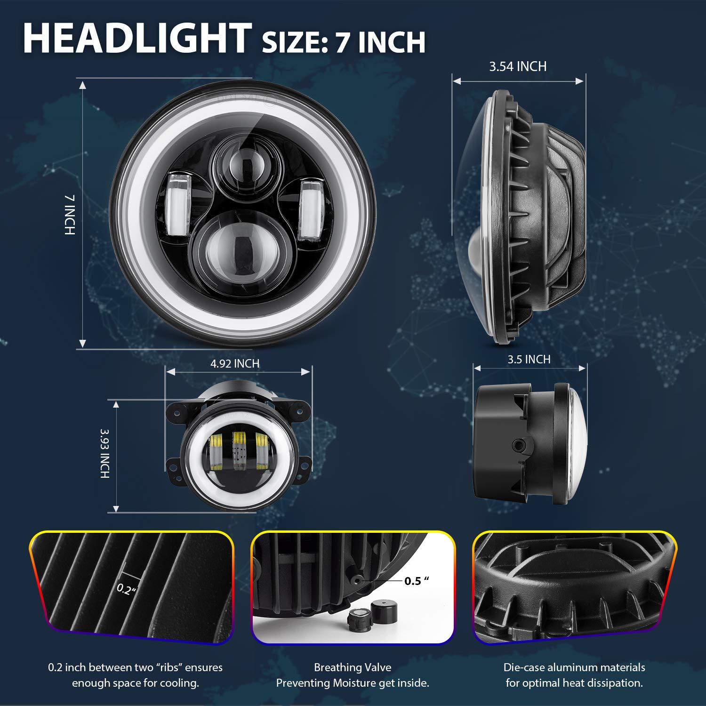 4 Fog lights For 1997-2017 TJ LJ JK JKU Unlimited Rubicon Sahara Altitude Dot Approved Car Accessories GoodRun Jeep Wrangler Headlights 7 LED Halo Angel Eyes RGB JW-HL04