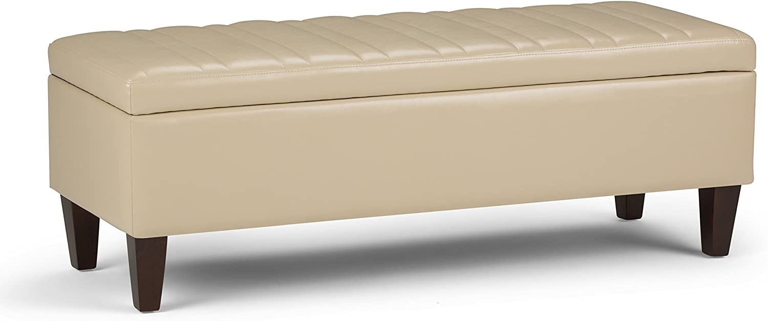 Simpli Home Monroe 48 inch Wide Rectangle Lift Top Storage Ottoman in Satin Cream Tufted Faux Leather with Large Storage Space for the Living Room, Entryway, Bedroom, Contemporary