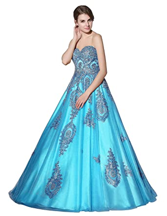 a4ca734c32f Sarahbridal Women s Lace Applique Beaded Prom Ball Gowns Sweetheart Sequin  Beaded Quinceanera Dresses Blue US2