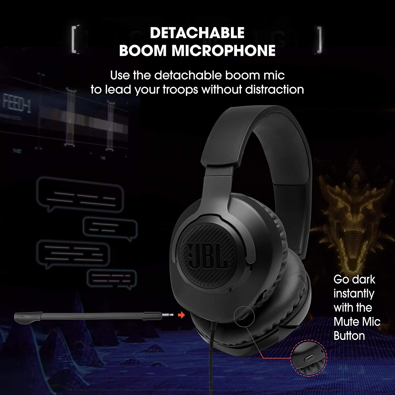 JBL Quantum 100 Wired Over Ear Gaming Headset with Detachable Mic  Black  Headsets