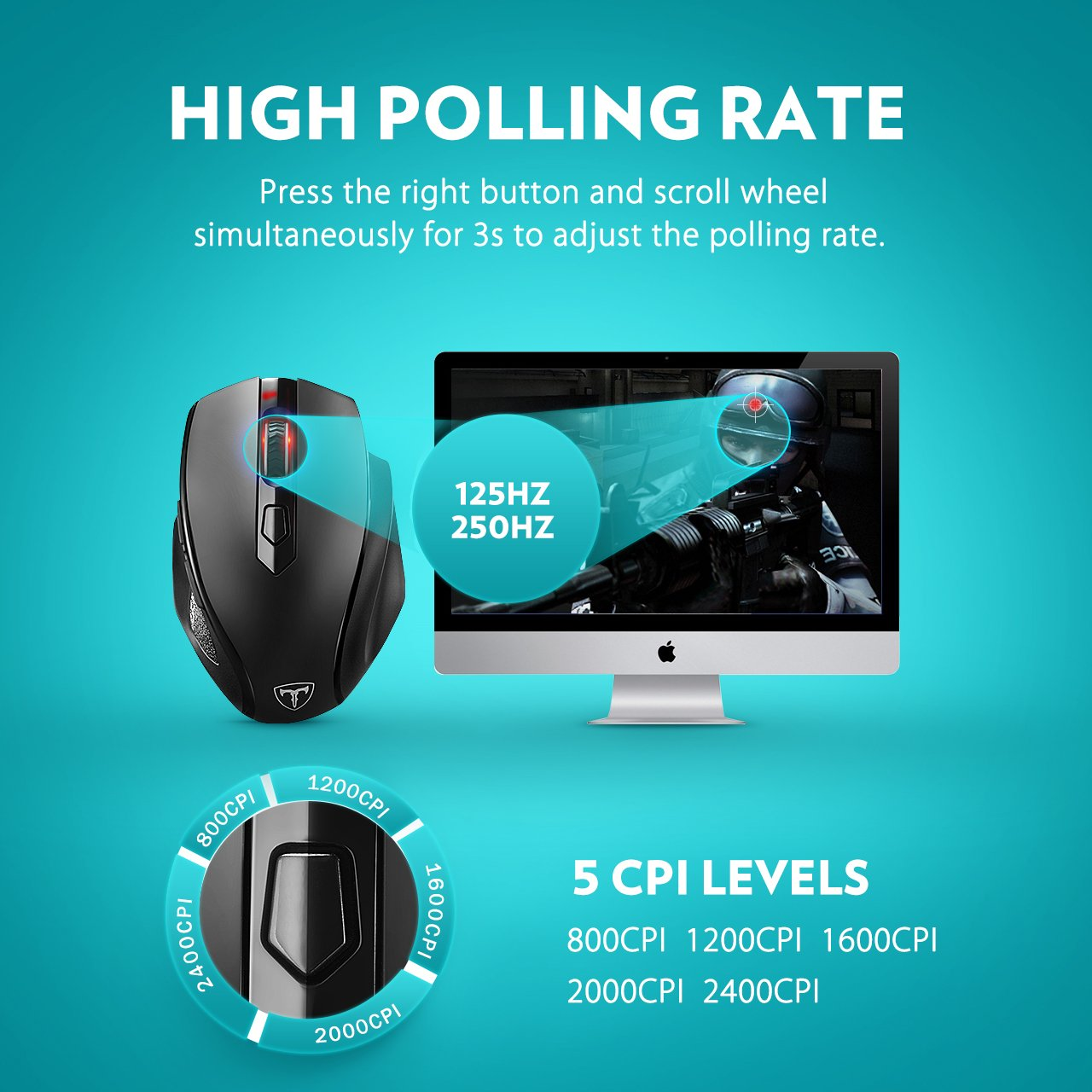 VicTsing Full Size Wireless Mouse with Nano USB Receiver, 5 Adjustable CPI Levels, 6 Buttons for Notebook, PC, Laptop, Computer, Macbook-Black by VicTsing (Image #3)