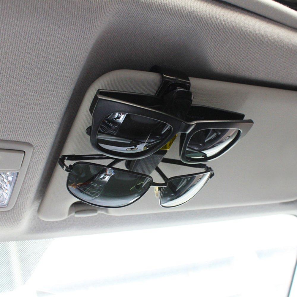 Sunglasses Eyeglasses Mount with Ticket Card Clip Black FineGood 2 Pack Glasses Holders for Car Sun Visor