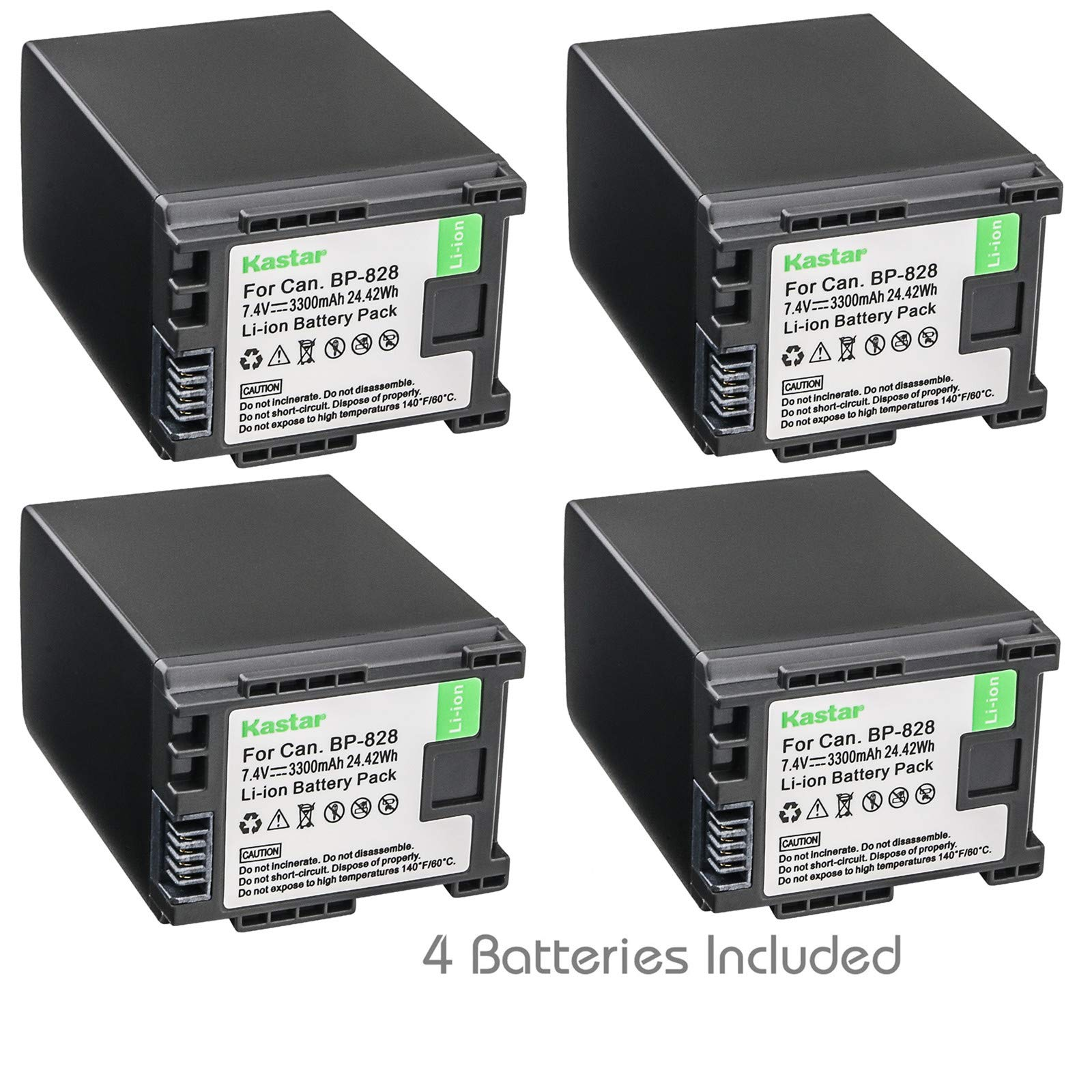 Kastar BP828 Battery (4-Pack) for Canon BP-828 and Canon VIXIA HF G30, XA20, XA25 Camcorders by Kastar