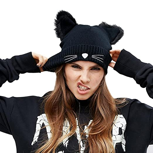 4b61fb714f6e0 Image Unavailable. Image not available for. Color  Trendy Warm Cable Cat  Ears Knit Beanie Cap ...
